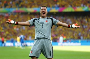 BELO HORIZONTE, BRAZIL - JUNE 14: David Ospina of Colombia reacts after defeating Greece 3-0 during the 2014 FIFA World Cup Brazil Group C match between Colombia and Greece at Estadio Mineirao on June 14, 2014 in Belo Horizonte, Brazil.  (Photo by Quinn Rooney/Getty Images)